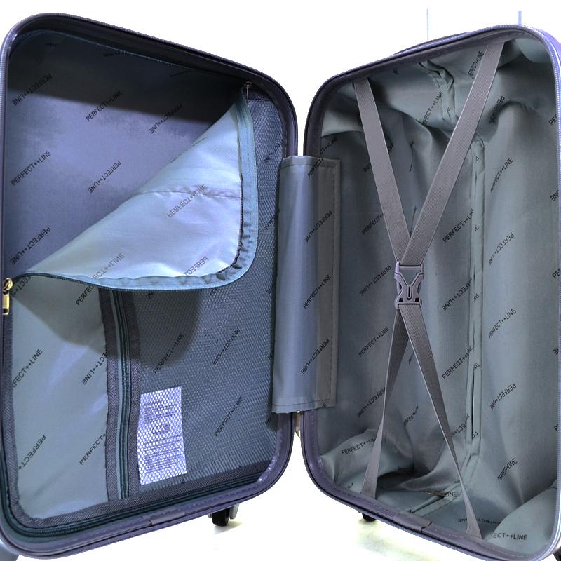 Комплект 3 броя ABS твърди и леки спинър-куфари PERFECT++ LINE 1253 CHAMPAGNE