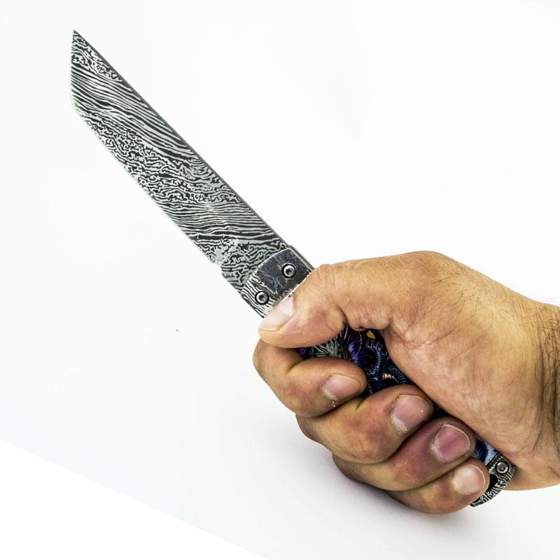 Японски класически танто нож BLUE JAP DRAGON L021 с кания ест. кожа