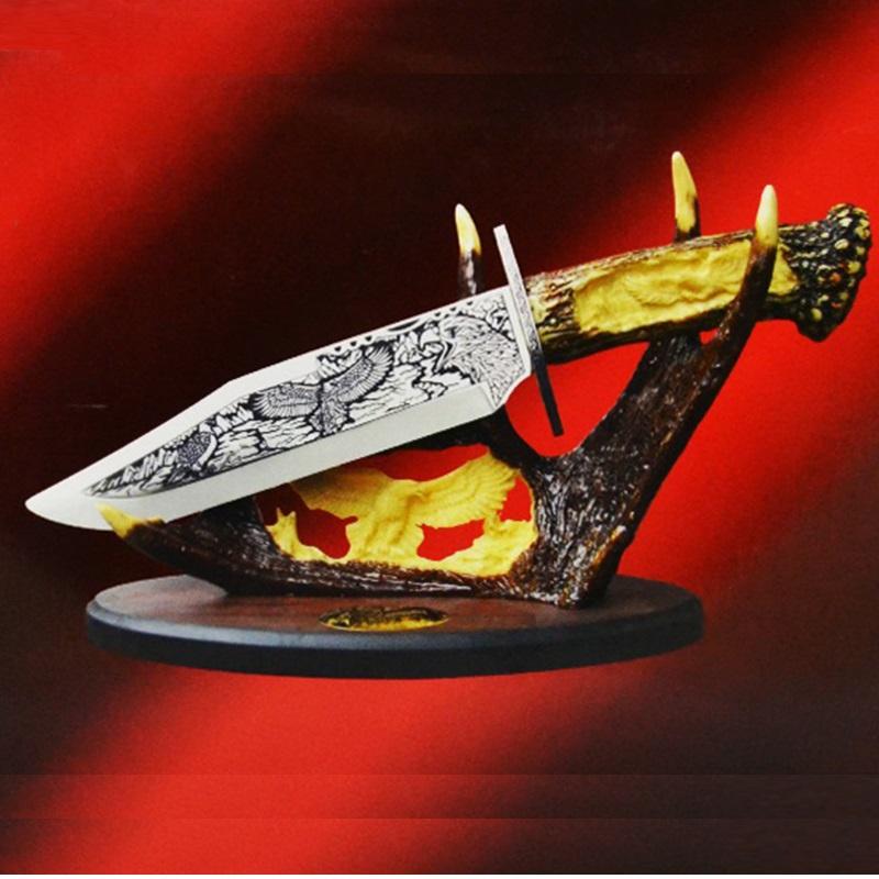 Голям трофеен нож с настолна поставка - бутиков подарък за ценители DEER HK8275