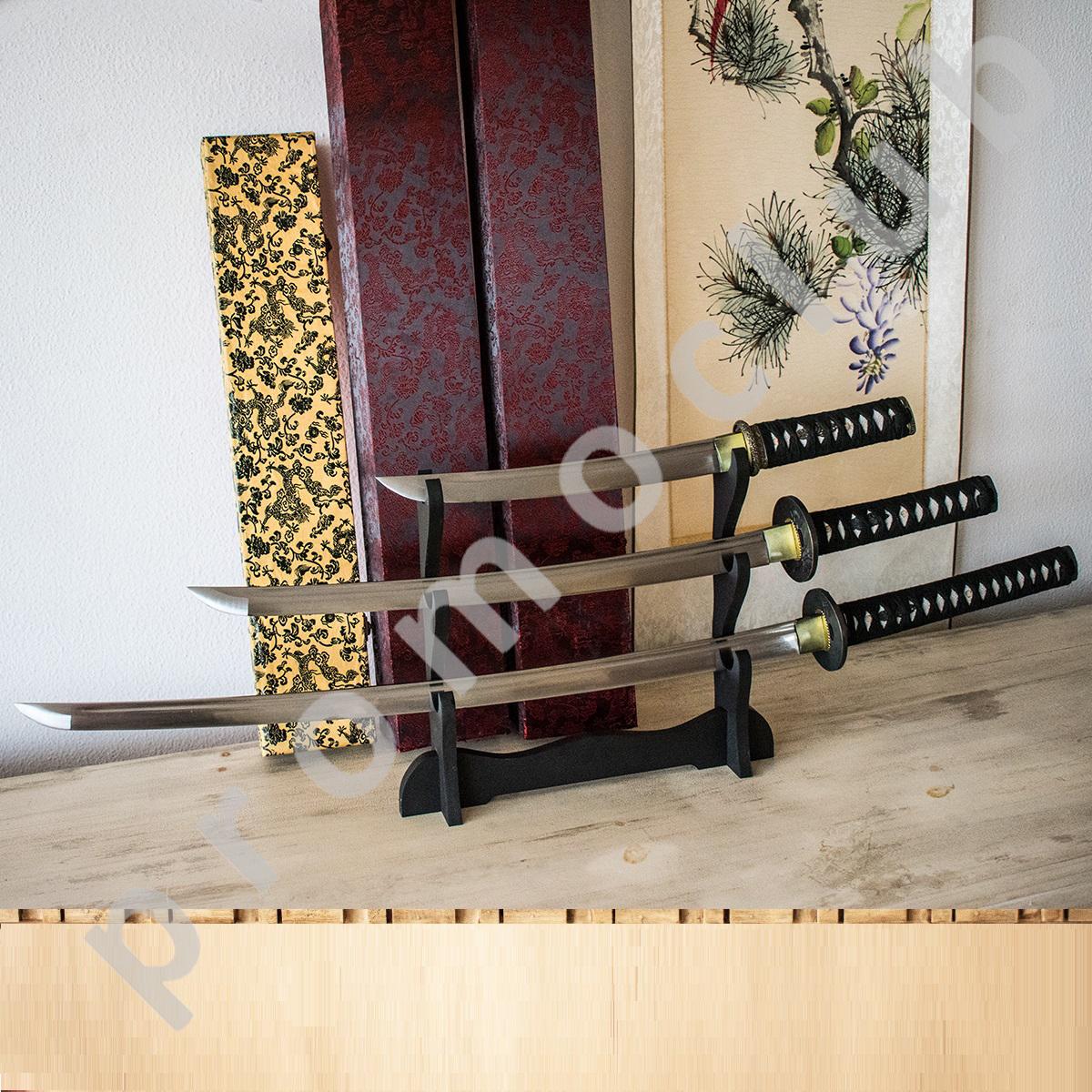 Голям японски самурайски нож ТАНТО с истинско заточване, дървена кания, лукс кутия, меч