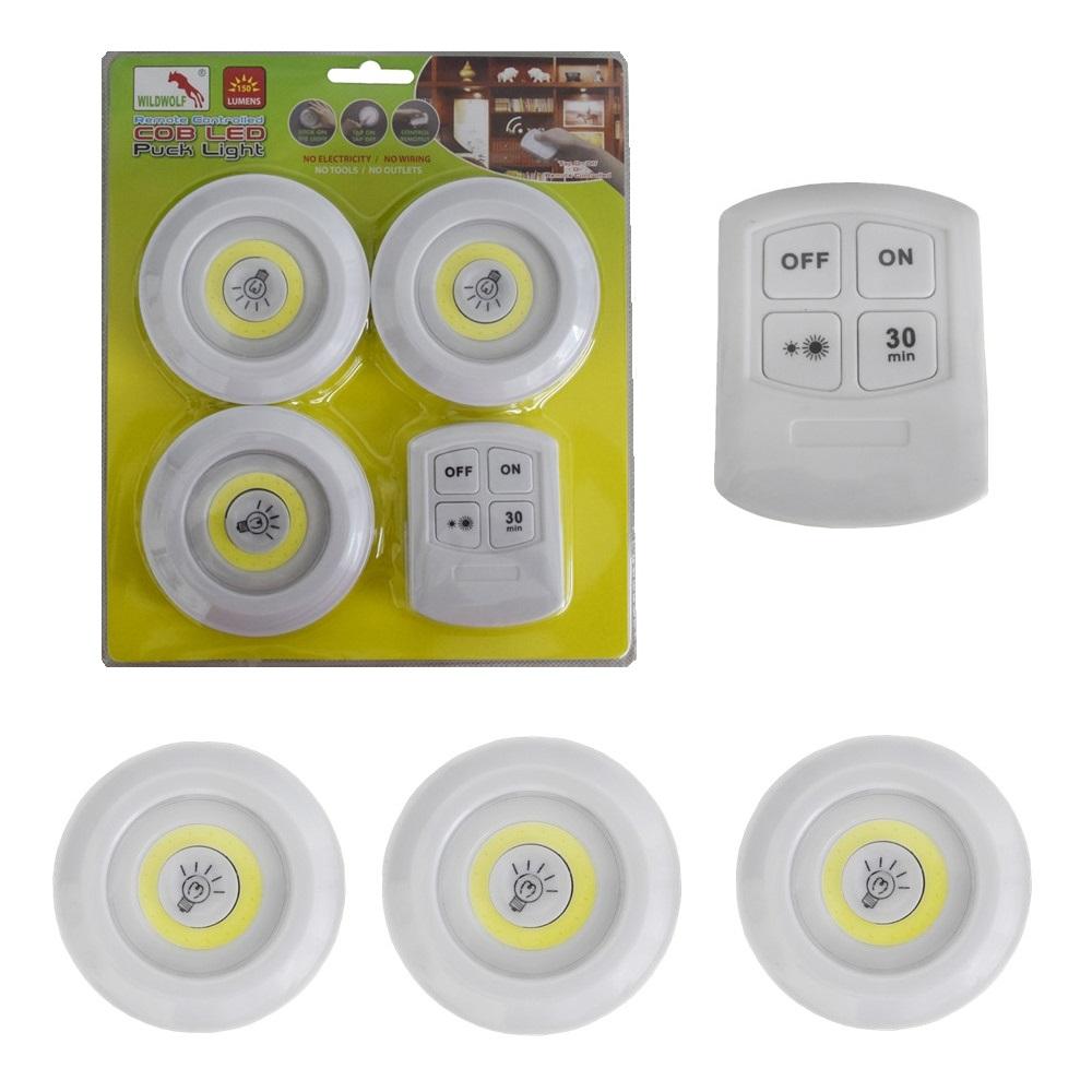 3 безжични LED лампи с дистанционно управление и таймер за закъснение 3 COB LED REMOTE