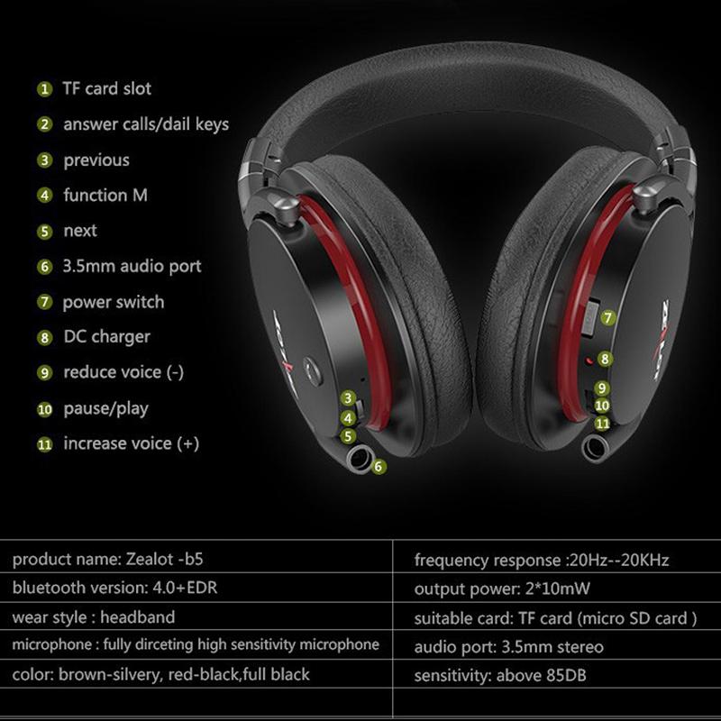 Най-висок клас професионални блутудни стерео слушалки ZEALOT B5 с всички HiFi екстри, дждж