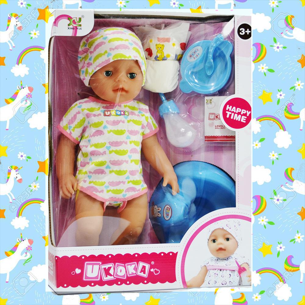Голяма луксозна кукла бебе UKOKA - пие, яде, отваря очи, плаче, сменя си пелените и др.