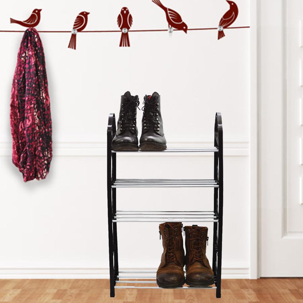 Пет-редов лек стелаж за обувки, черен (от сним.)