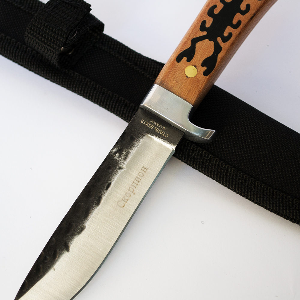 Компактен размер руски ловен нож СКОРПИОН FB925C, ковано оксидирано острие, стомана 65х13