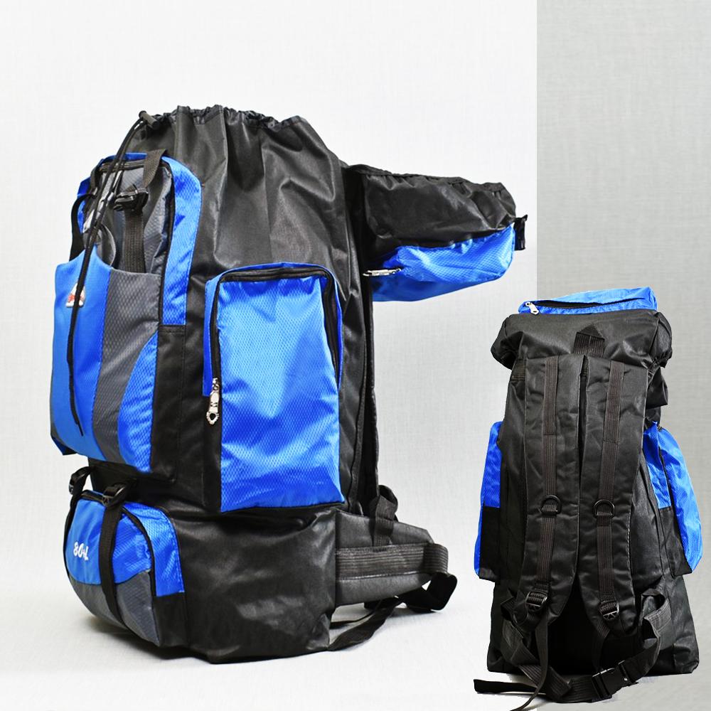 ТОП: голяма 80-литрова туристическа раница  80L+ 21193 BLUE