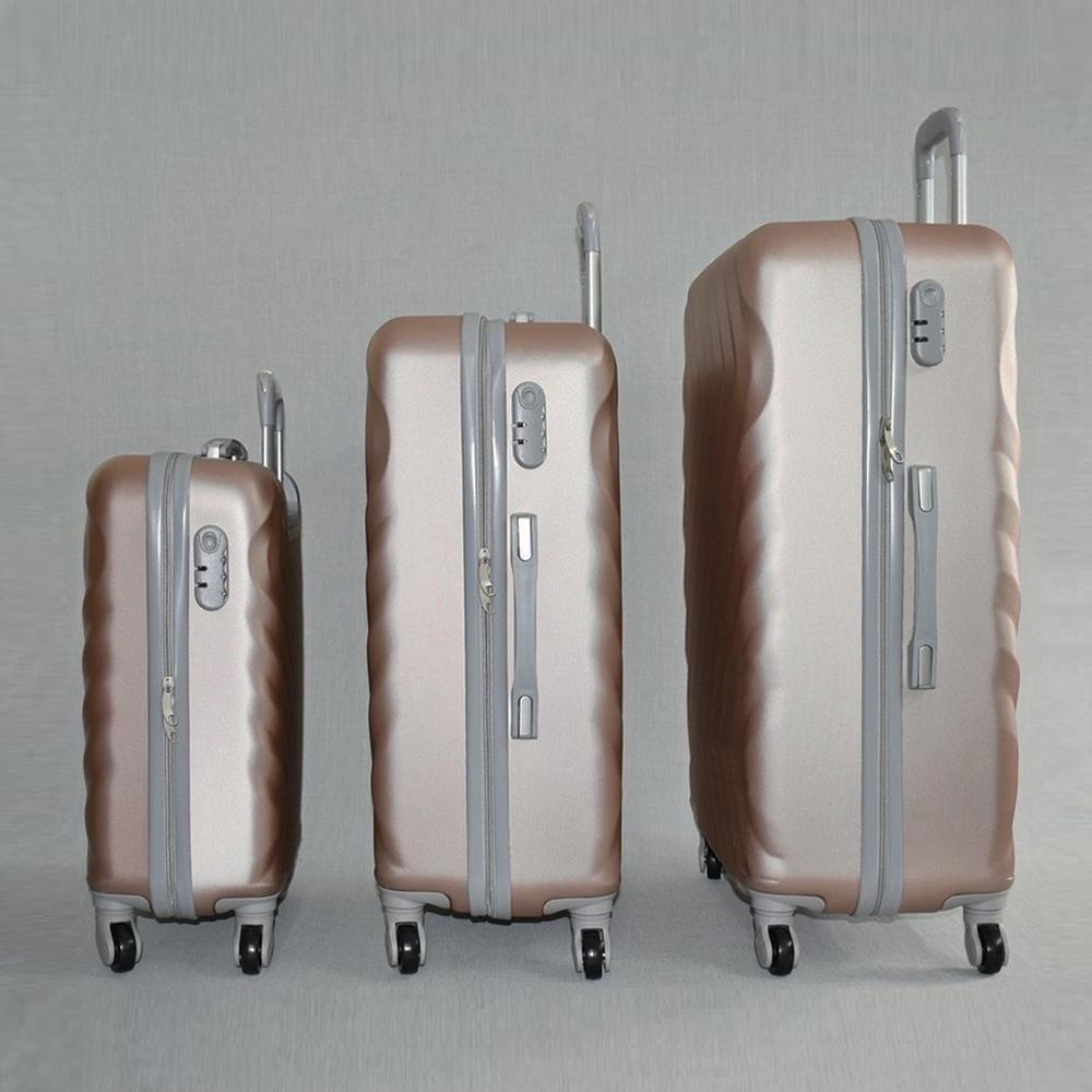 ЛИКВИДАЦИЯ: комплект твърди и леки ABS куфари - спинъри, всички екстри WAVE 8089 CHAMPAGNE