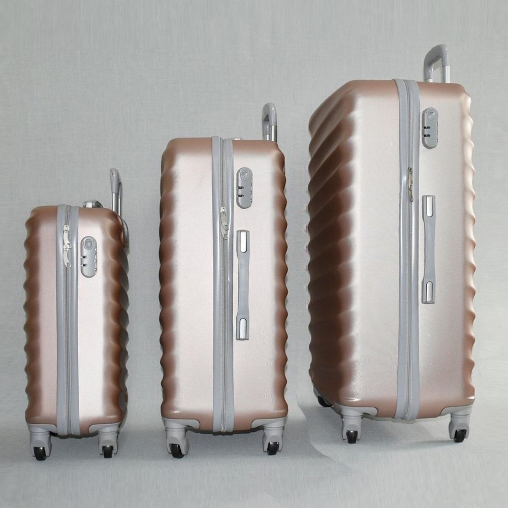 ЛИКВИДАЦИЯ: комплект твърди и леки куфари с всички екстри ART LINE 8091 ROSE, ABS