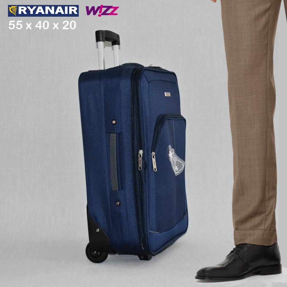 BF SALE: разширяващ се куфар HQC 1710-1 DARK BLUE за ръчен багаж, 55х40х20 см