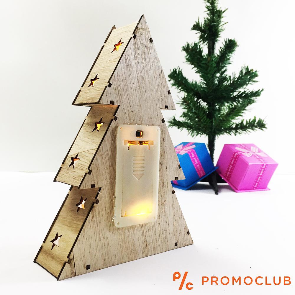 Дървена коледна елха-LED фенер D15_212A ЕЛЕН на батерии - великолепна коледна украса, 2хАА