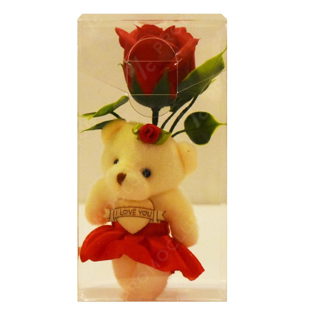 Мече с роза в кутия - романтичен подарък