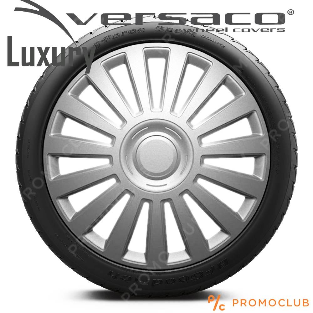 4 автомобилни тасове VERSACO LUXURY SILVER, размер 15 цола, висок клас