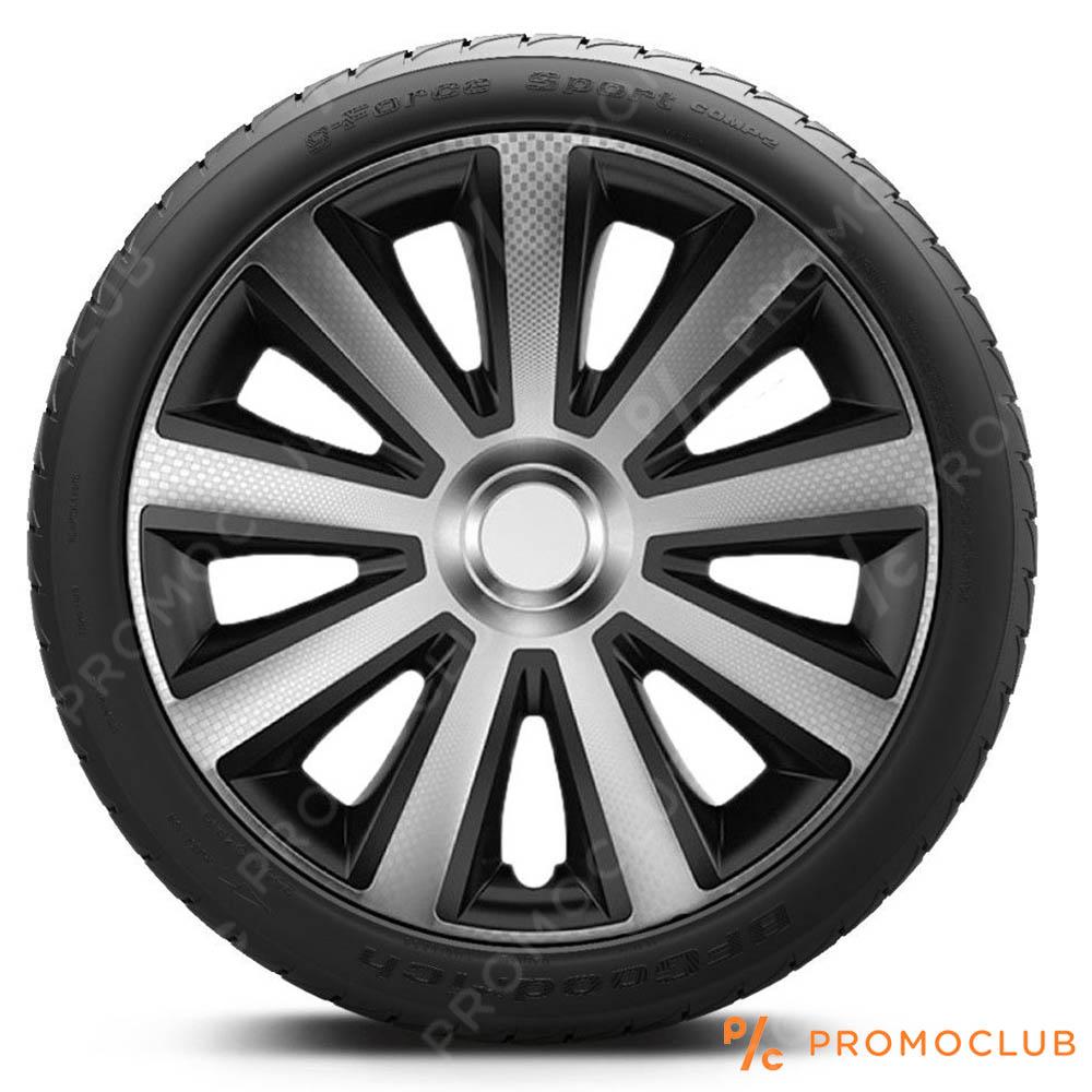 4 автомобилни тасове VERSACO CARBON BLACK and SILVER, размер 15 цола, висок клас
