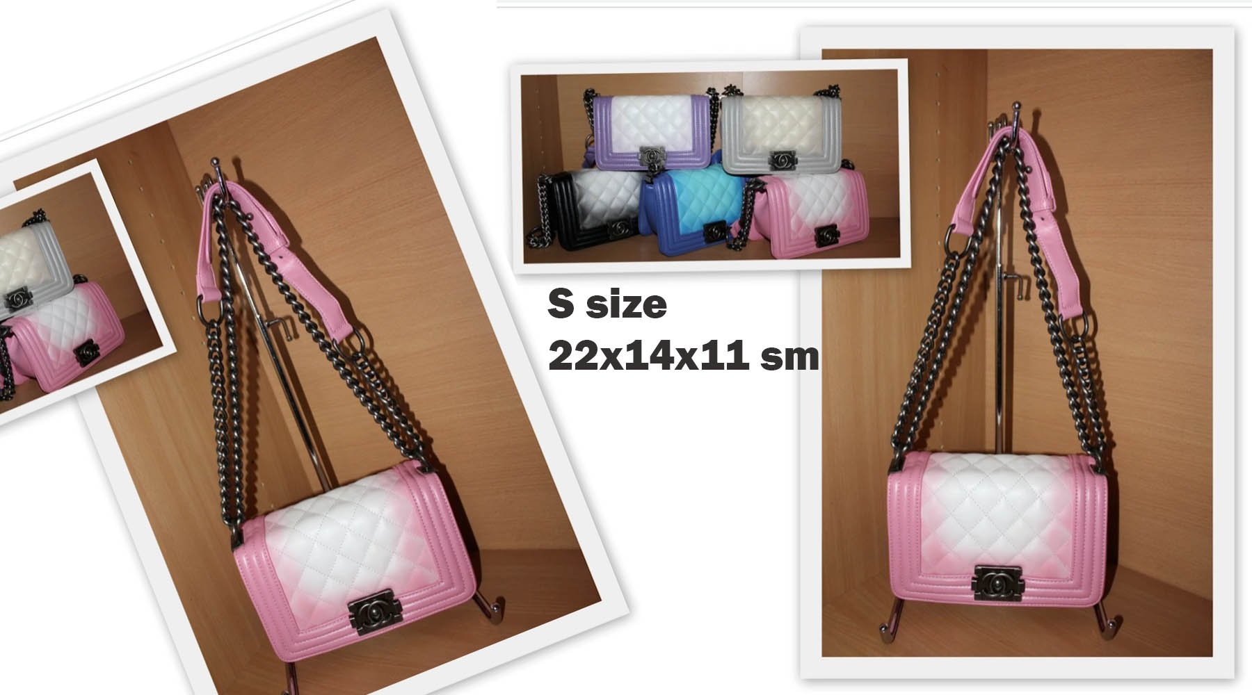 Дамска чанта ШАНЕЛ WHITE AND PINK S размер 22 х 14 х 11 см