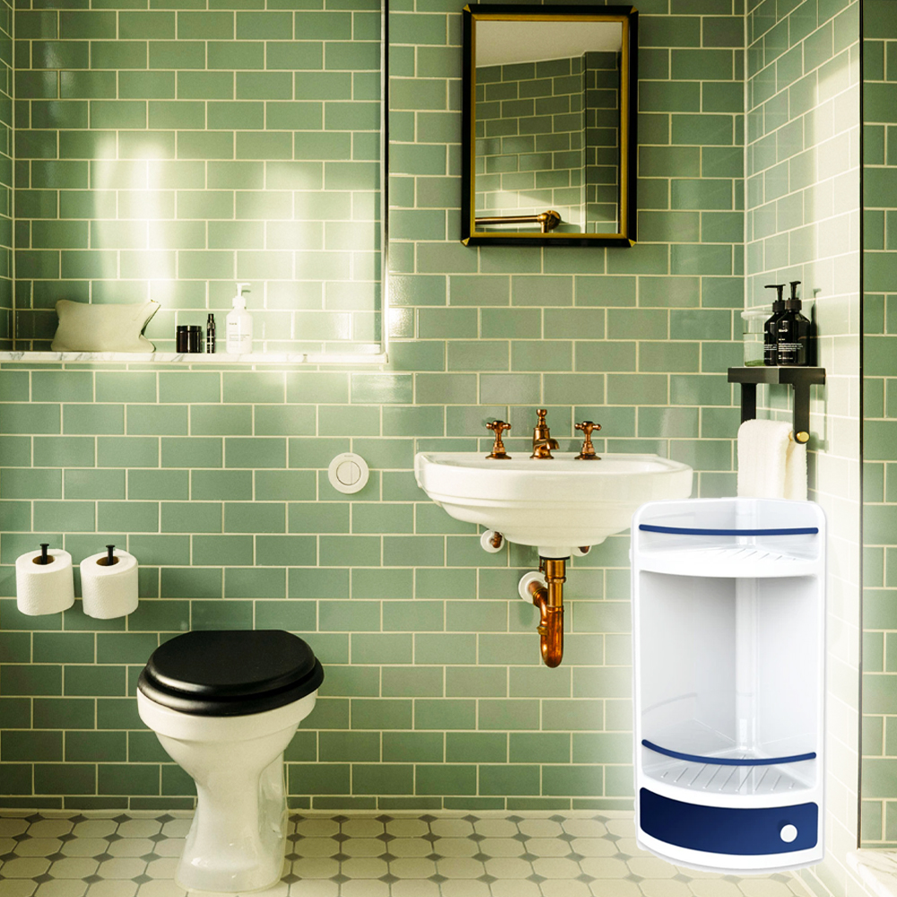 Красива ъглова етажерка за баня с долно чекмедже, лесен монтаж, 29 х 18 х 41 см