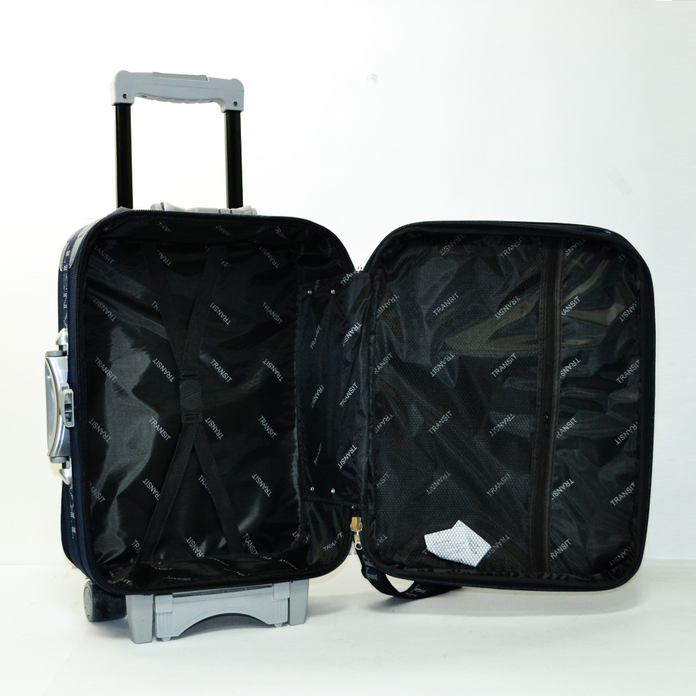 Разширяващ се куфар за ръчен багаж ТРАНЗИТ M701 BLUE, 3 колела, стоманено шаси, заключване