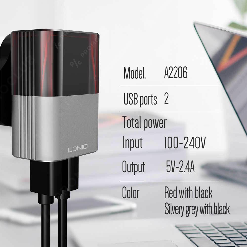 Хай-тек зарядно за Apple iPhone LDNIO A2206, 2 USB 2.4A, кабел Apple iPhone