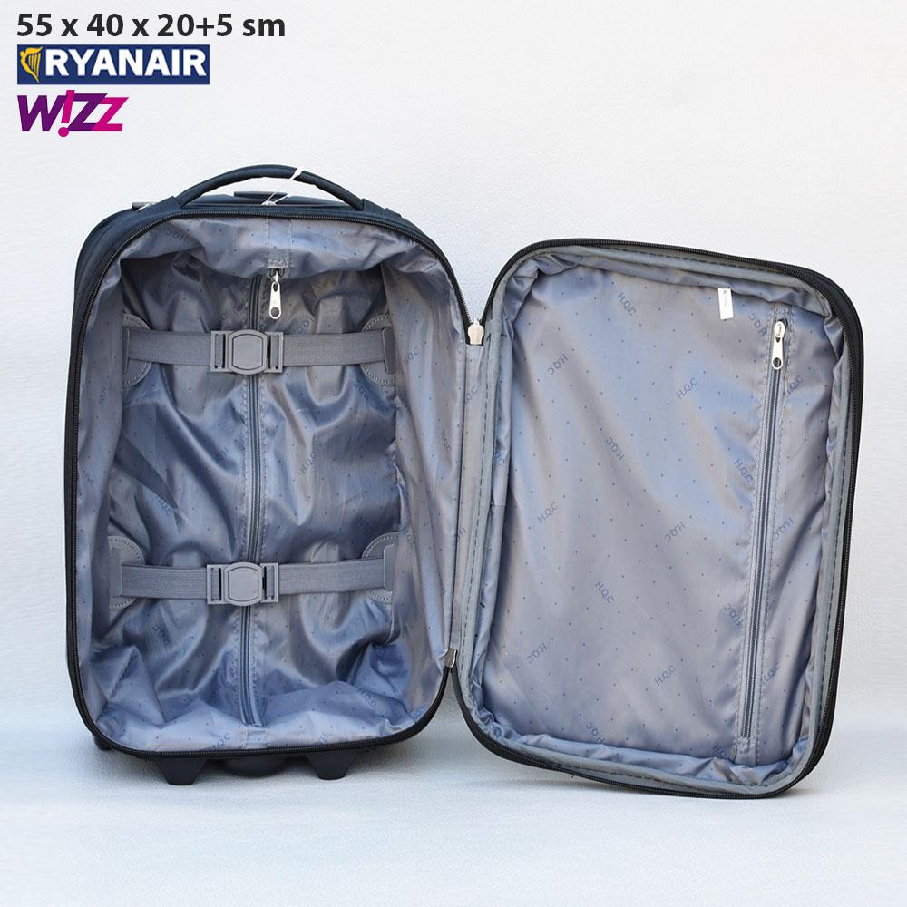 Текстилен авио куфар с разширение HQC42-1 RED за ръчен багаж, 55х40х20 см