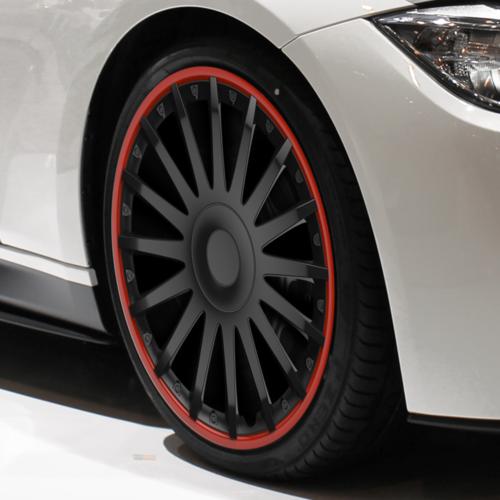 4 автомобилни тасове VERSACO CRYSTAL Ro Black & Red, размер 14 цола, висок клас