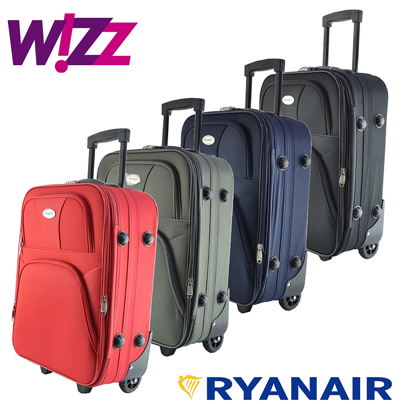 Разширяващ се ръчен авио куфар TRANZIT - размер WIZZ и RYANAIR, текстил, ръчен багаж