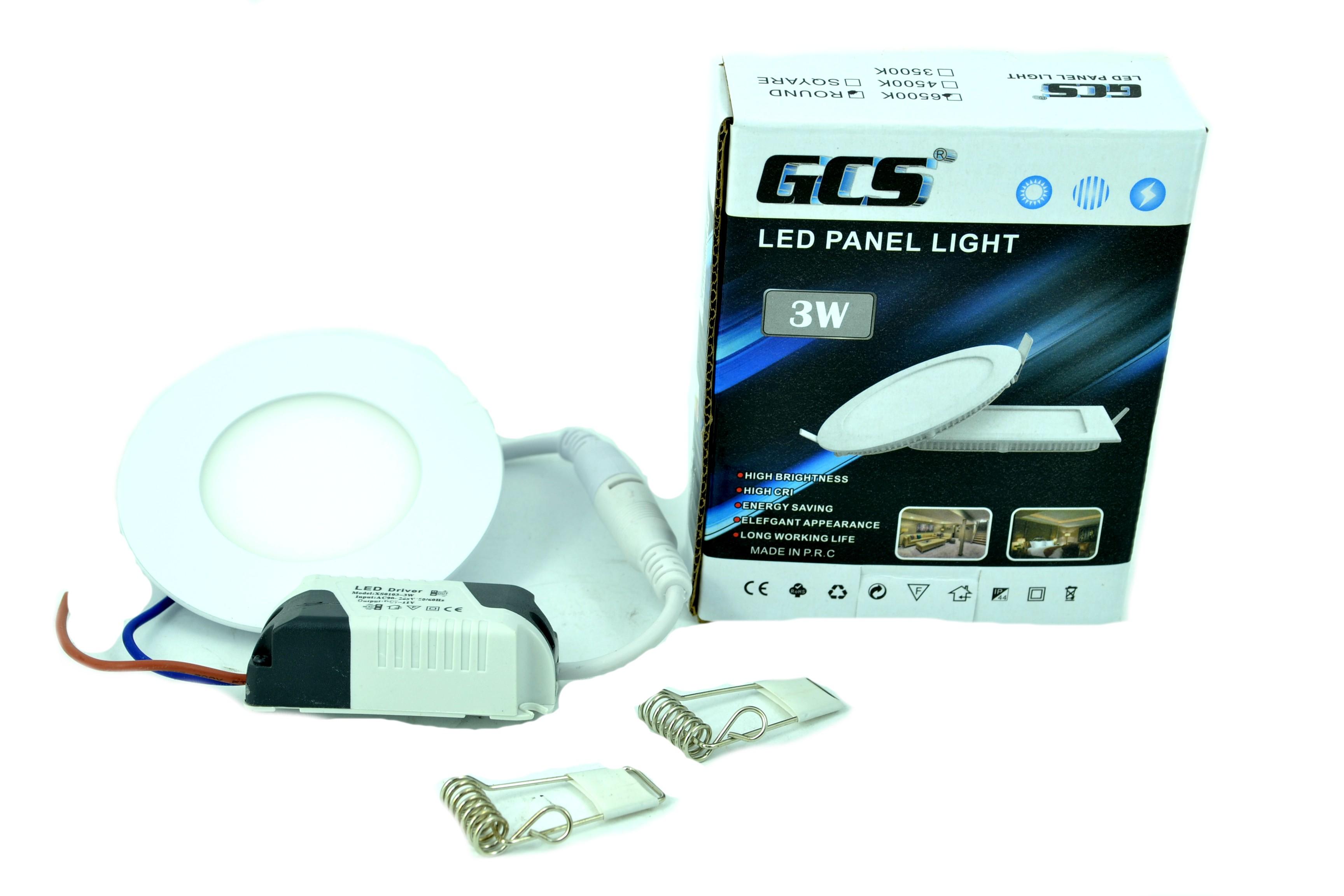 LED панел VTAC 3W за вграждане, висока светимост топло или студено аналог на 30W крушка