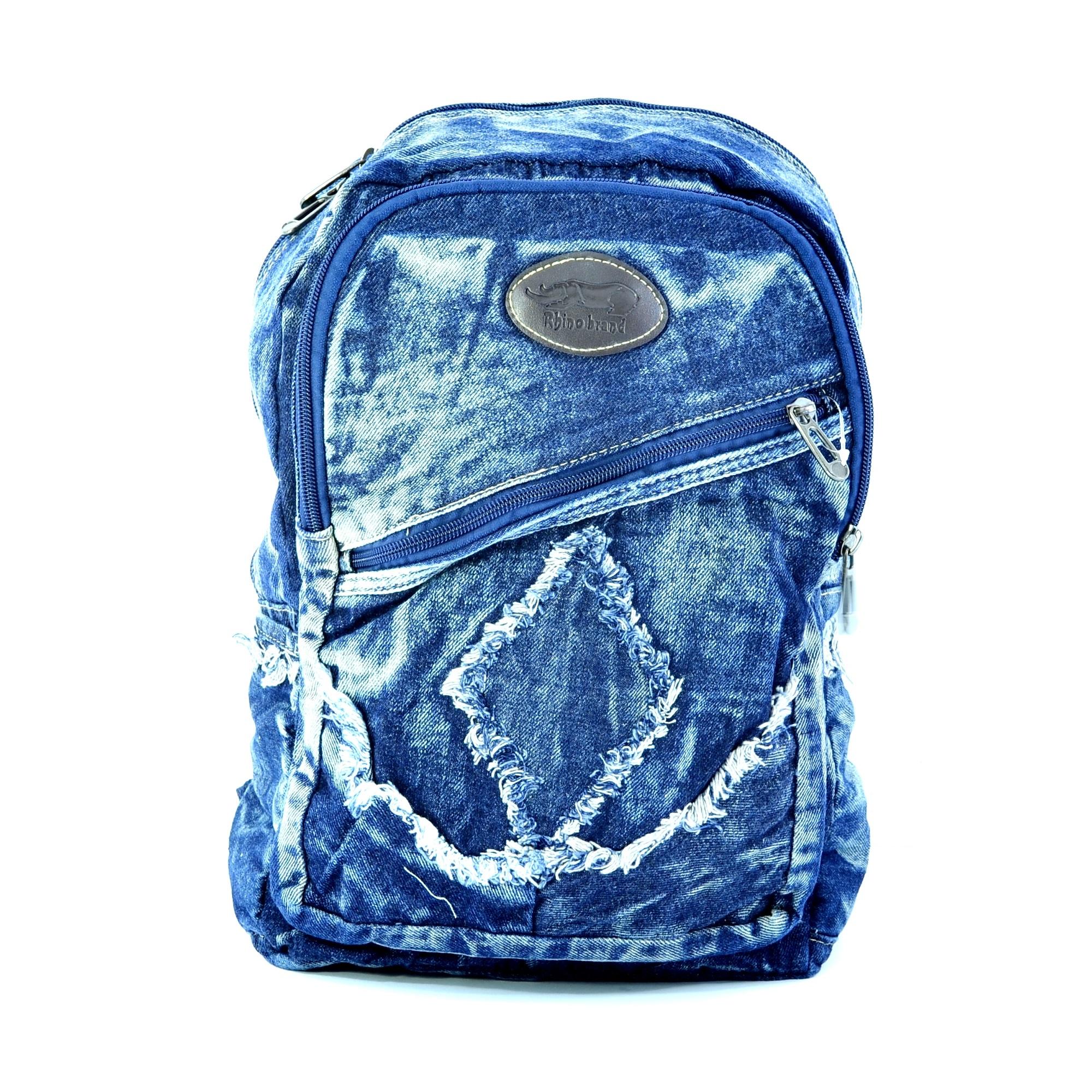Лека дънкова раница 059 BLUE GIRL. Дамска раница за училище, спорт и туризъм