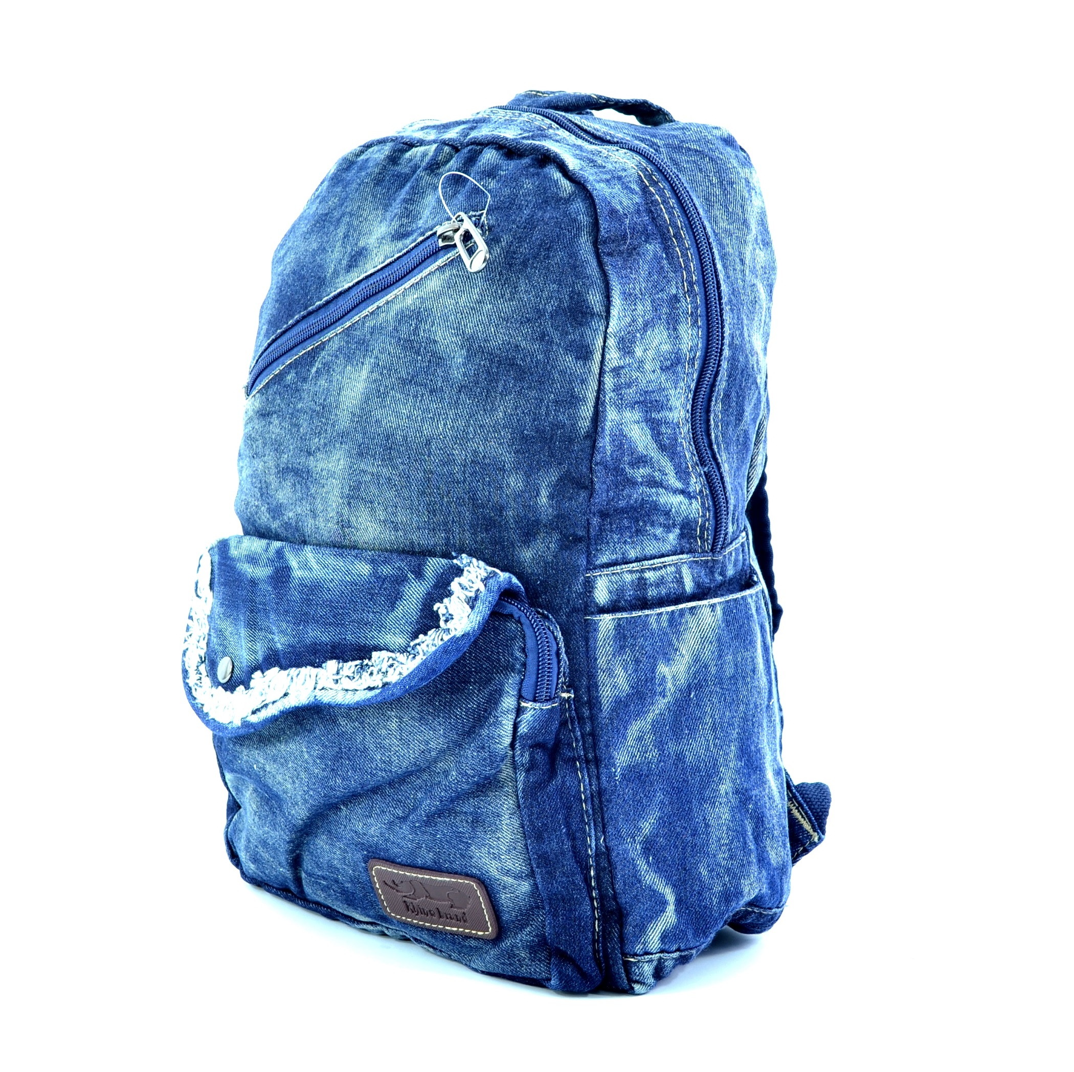 Лека дънкова раница 075 BLUE GIRL, Дамска раница за училище, спорт и туризъм