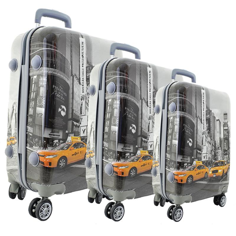 Комплект 3 броя PVC леки спинър- куфари New York Taxi К-16-348-3 - ПОЛИКАРБОН