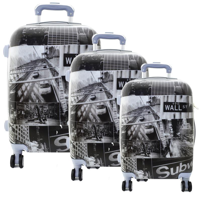 Комплект 3 броя PVC,леки, спинър- куфари WALL STREET - ПОЛИКАРБОН