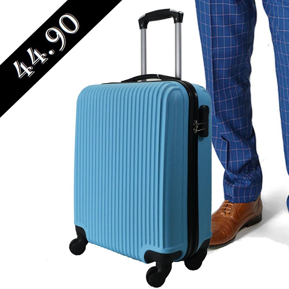 Ръчен авио ABS куфар - спинър 821 SKY BLUE твърд, лек  2.5 кг за  RAYANAIR и WIZZAIR