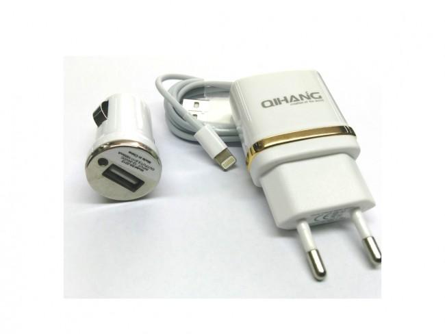 3 в 1 зарядно за iPhone 5/6/SE или MicroUSB QIHANG модел QH-C1570