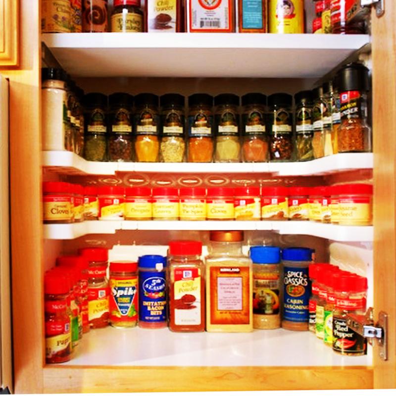 Универсален нагаждащ се органайзер за шкафчета с подправки, козметика и дребни аксесоари