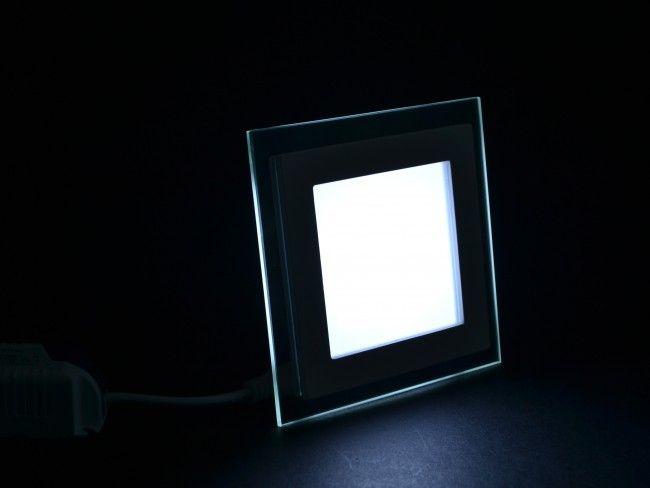LED осветително тяло за вграждане със стъклен ринг, консумация 6W,6000К бяла светлина