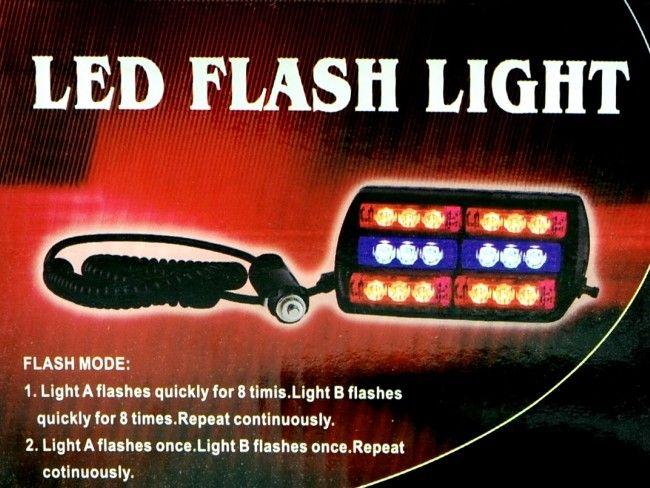 Мощни полицейски блиц LED светлини А2072 30W със закрепване към предното стъкло
