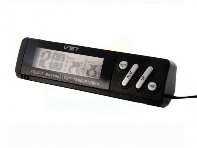 Мулти функционален авточасовник с датчик за външната(и в купето)температура VST-7067, 1XАА