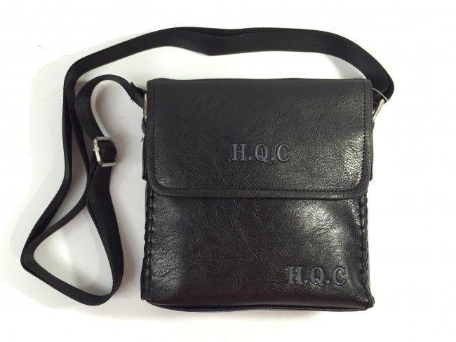 Мъжка кожена чанта за през рамо H.Q.C 31460 BLACK
