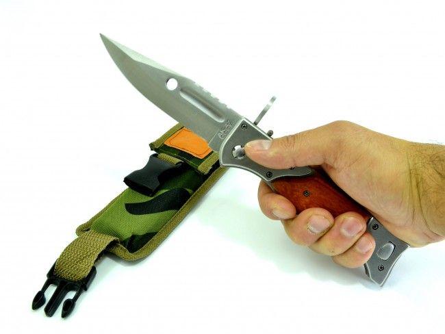 Голям автоматичен сгъваем нож - щик AK-47 726B с калъф и дървена дръжка