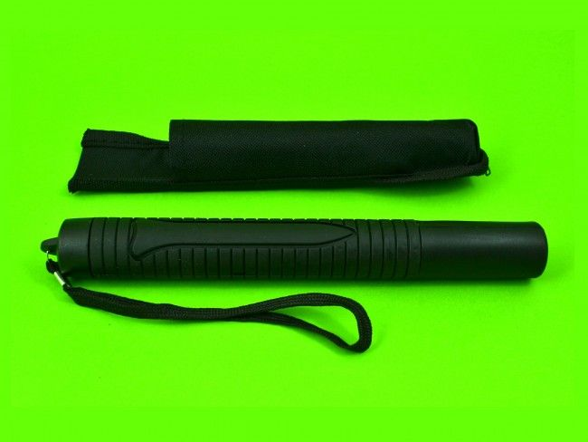 Олекотена телескопична палка тип POLICE от пластмаса с гумирана дръжка