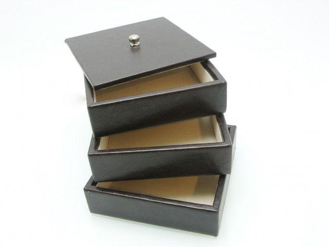Луксозна кожена кутия за аксесоари и принадлежности на 3 нива