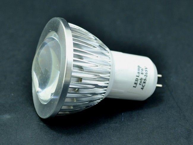 Мощна алуминиева LED спот луничка MR16 AC~220V 8W 750 Lm, 6500К студена бяла светлина