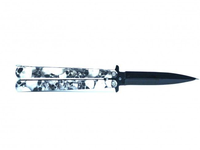Супер промо: сгъваем нож DARK SKULL -  2134 (с черепи, тип пеперуда)