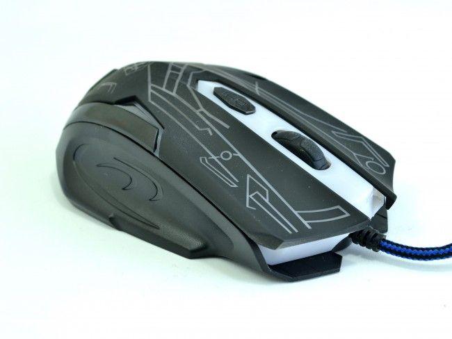 Геймърска мишка Born in War BLACK 6D с променливи цветове и дълъг оплетен кабел