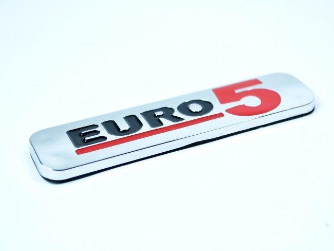 Луксозна хромирана табела EURO 5 малък размер 100х25 мм