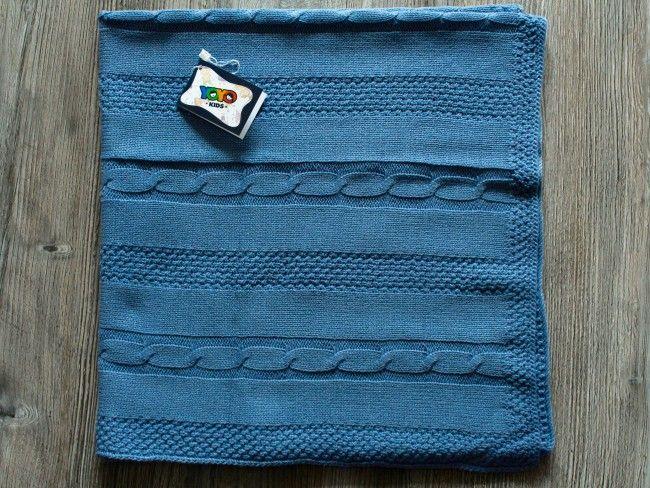 Топло антиалергично плетено бебешко одеяло Yo Yo Kids 90 х 90 см- ЦВЯТ ДЖИНСОВ, 304