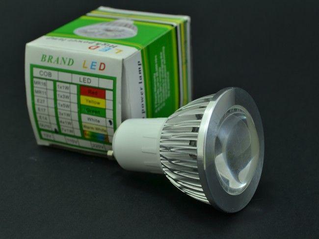 LED крушка GU10 8W, алуминиево тяло и оптична лупа. 6000К студена бяла светлина, ~220V AC