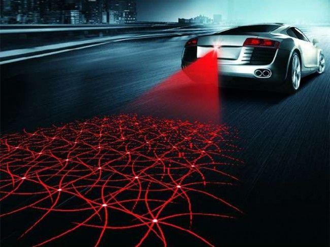 Нов тип лазерна мрежа за заден ход на автомобила, забележим отдалеч и в гъста мъгла