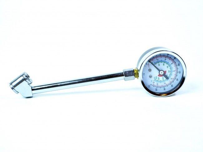 Професионален хромен манометър за налягането на гумите с дълго рамо, 032