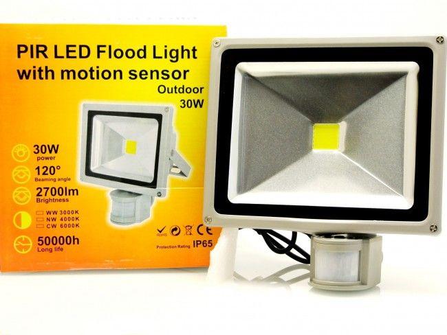 30W мощен LED прожектор за външен монтаж с датчик за движение и осветеност