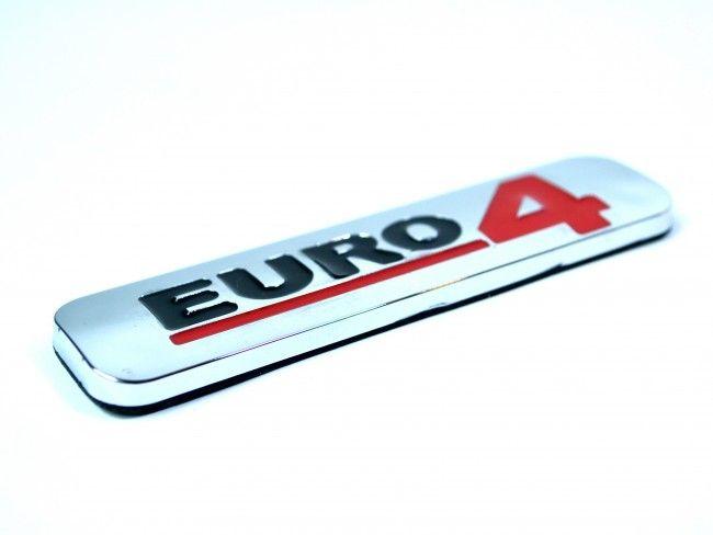 Луксозна хромирана табела EURO 4 малък размер 100х25 мм