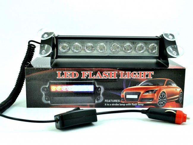 Полицейски блиц LED светлини А2071 8W със закрепване към предното стъкло